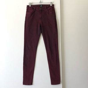 Just Black Burgundy High Waisted Skinny Jeans